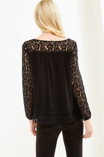 Blouse with lace and boat neck, Black, hi-res