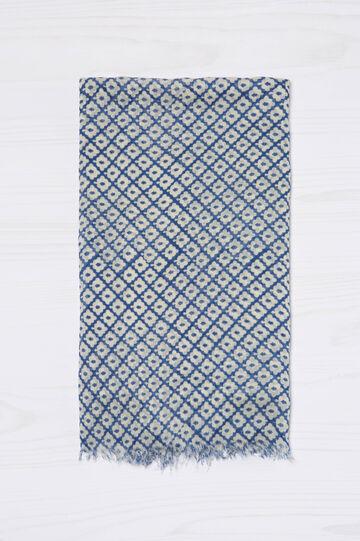Printed scarf in 100% viscose, Blue, hi-res