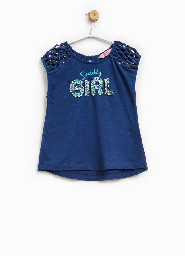 Top with openwork stars and glitter print | OVS