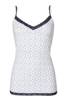 Stretch cotton top with print., White, hi-res