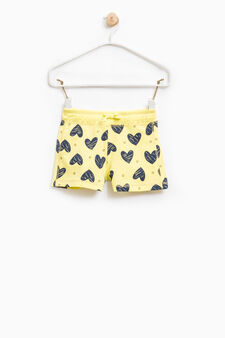 100% cotton shorts with heart print, Yellow, hi-res