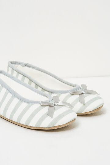 Pantofole ballerina a righe, Bianco/Grigio, hi-res