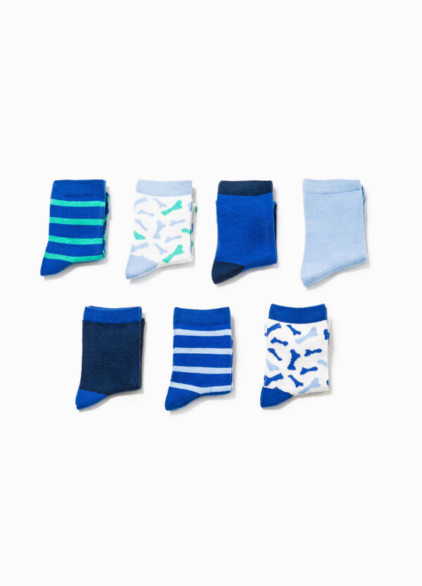 Seven-pair pack solid colour and patterned socks | OVS