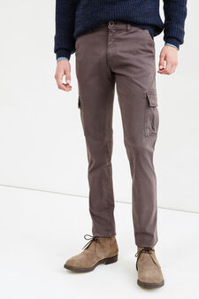 Solid colour  stretch cotton chino trousers, Dark Grey, hi-res
