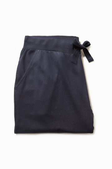 Jersey pyjama trousers with pockets, Navy Blue, hi-res