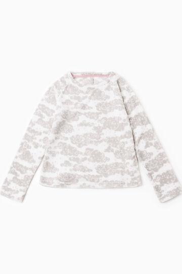 Printed fleece pyjama top., Cream White, hi-res