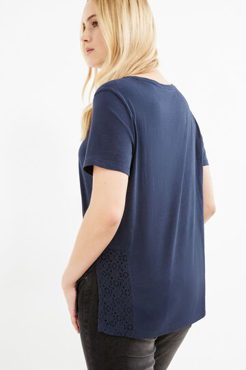 Curvy cotton T-shirt with slits and lace, Navy Blue, hi-res