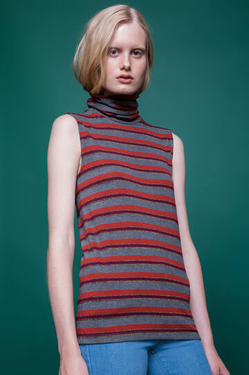 High-neck top with striped pattern, Multicolour, hi-res