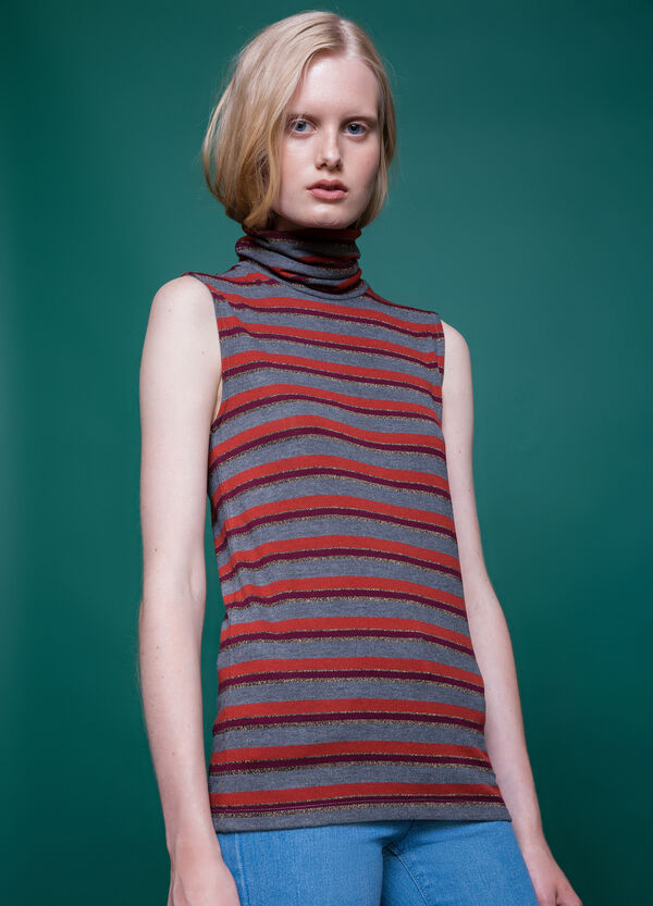 High-neck top with striped pattern | OVS