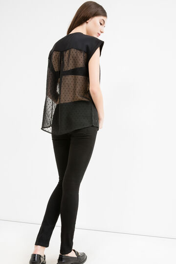 Semi-sheer blouse with cap sleeves, Black, hi-res