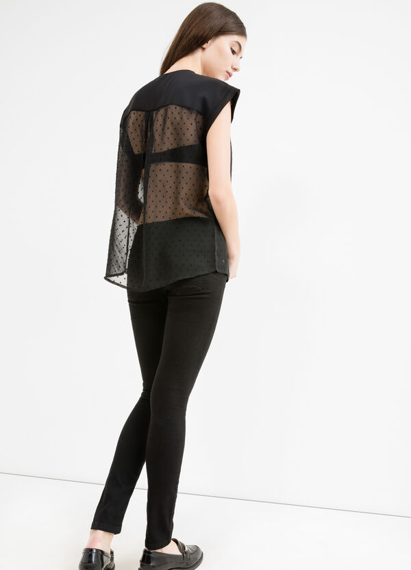 Semi-sheer blouse with cap sleeves | OVS