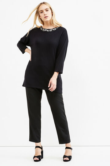 Curvy stretch chalk-stripe trousers, Black, hi-res