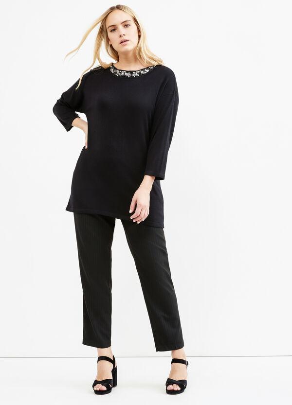 Curvy stretch chalk-stripe trousers | OVS