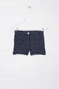 Stretch cotton polka dot shorts, Blue, hi-res