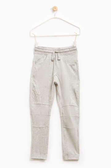 Solid colour cotton gym pants, Grey, hi-res