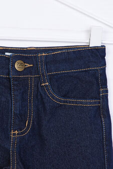 Solid colour stretch slim-fit jeans, Dark Blue, hi-res