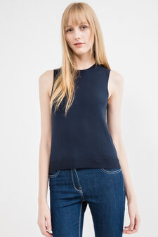 Sleeveless knitted sweater, Blue, hi-res