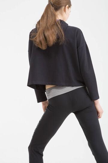 Sports leggings in cotton blend, Black, hi-res