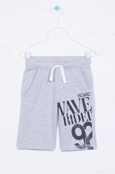 Printed shorts in 100% cotton, Grey Marl, hi-res
