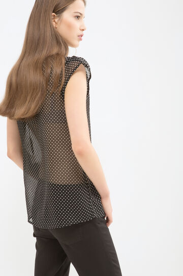 Patterned sleeveless blouse, Black/White, hi-res