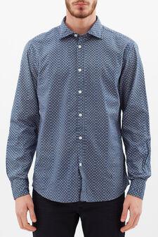 Camicia slim fit a quadretti, Nero/Blu, hi-res