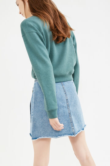Denim skirt with flower patches, Denim, hi-res