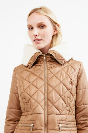 Solid colour down jacket with fur lining, Beige, hi-res