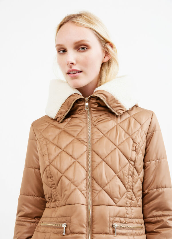 Solid colour down jacket with fur lining | OVS