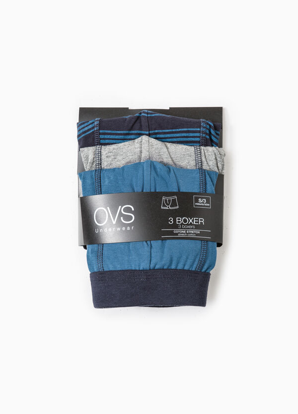 Three-pack patterned and solid colour stretch boxer shorts | OVS