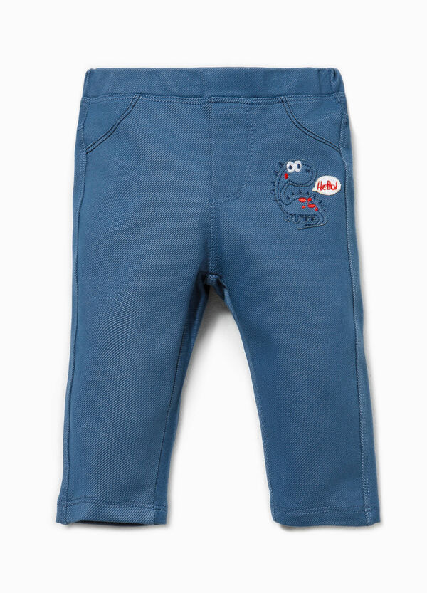 Stretch trousers with embroidery and patches | OVS