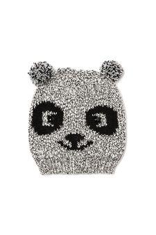 Knitted pompom hat, Grey, hi-res