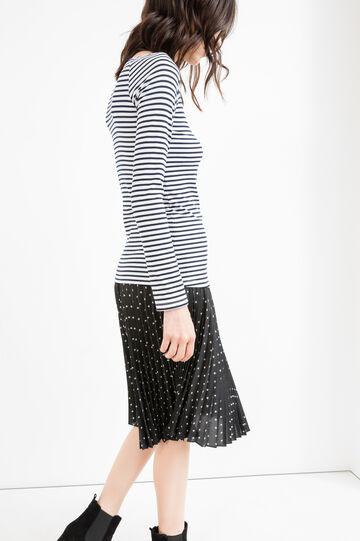 T-shirt stretch a righe maniche lunghe, Bianco/Blu, hi-res