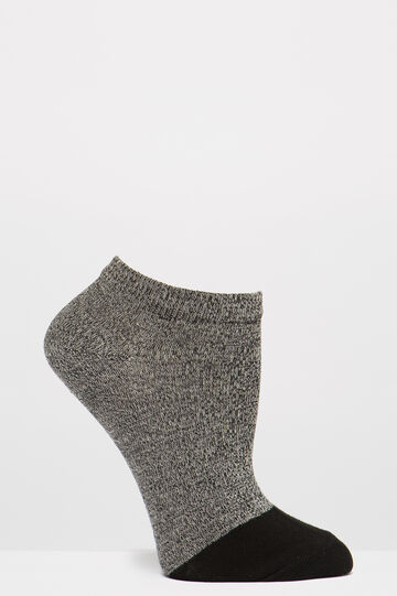 Two-pack socks with contrasting toe, Black/Grey, hi-res