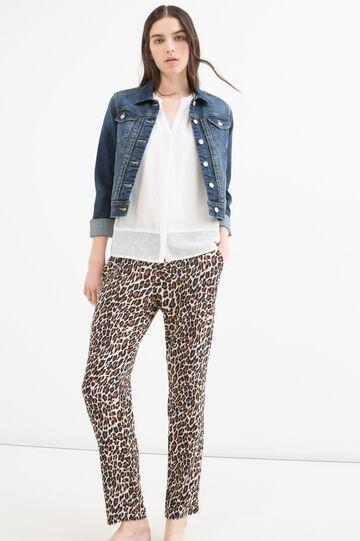 Pantaloni stretch fantasia animalier, Marrone, hi-res