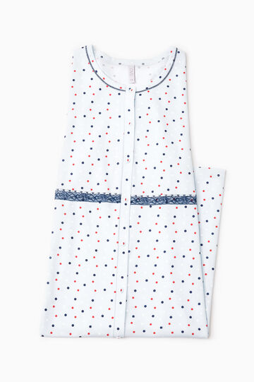 Polka dot cotton nightshirt, White, hi-res