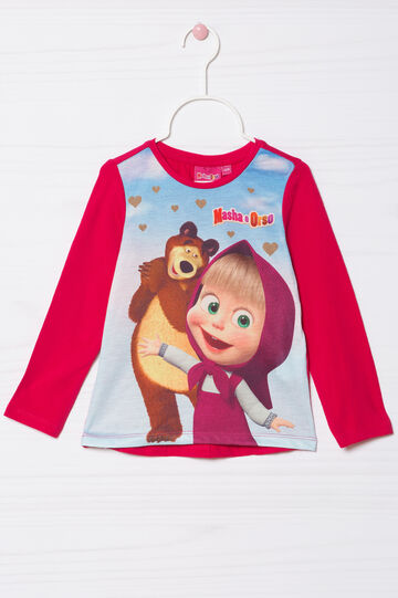 Masha and the Bear T-shirt in stretch cotton, Cherry Red, hi-res