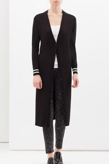 Printed cardigan in viscose blend, Black, hi-res