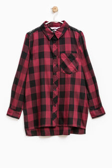 Long check shirt with lace, Blue/Red, hi-res