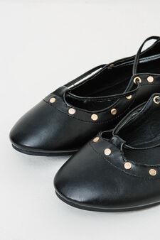Ballerina flats with ties and low heel, Black, hi-res