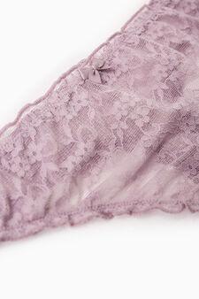 Semi-sheer stretch lace thong, Mauve, hi-res