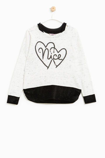 Chenille sweatshirt with sequins, White/Black, hi-res