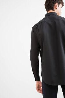 Cotton formal shirt with regular fit, Black, hi-res