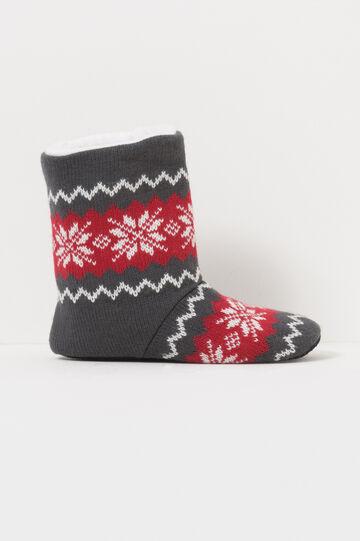 Pantofole stivaletti in tela fantasia, Grigio/Rosso, hi-res