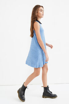 Teen stretch dress with collar, Light Blue, hi-res