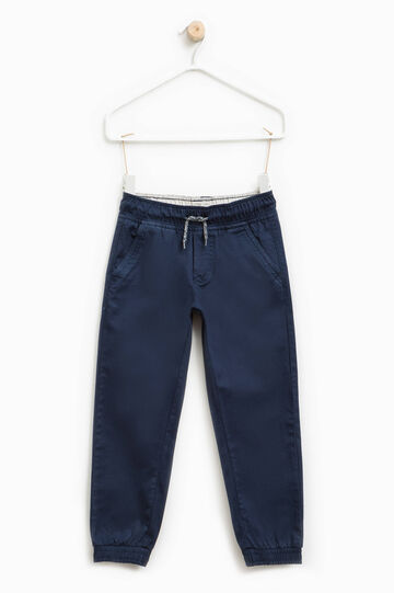Cotton twill trousers with drawstring, Blue, hi-res
