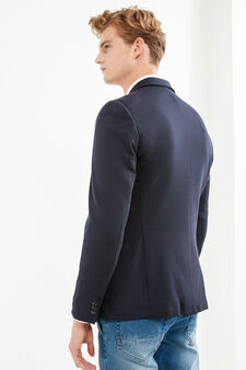 Elegant stretch viscose jacket with lapels, Blue, hi-res
