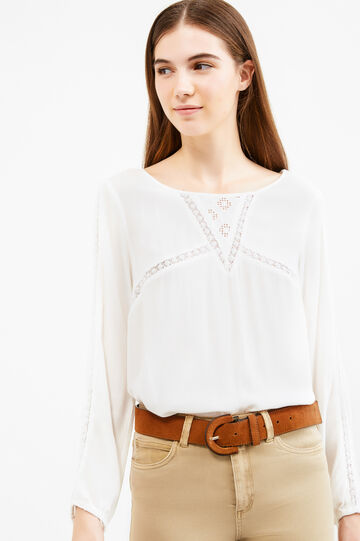 100% viscose blouse with pleated motif, Milky White, hi-res