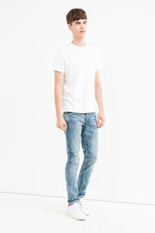 Ripped, skinny-fit stretch jeans, Light Wash, hi-res