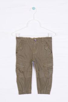 Pantaloni puro cotone con tasche, Verde militare, hi-res