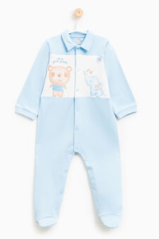 Printed sleep suit with patch., White/Light Blue, hi-res